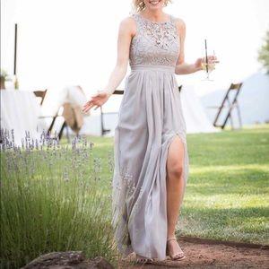 Light grey LULUS bridesmaid dress